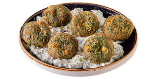 Spinach balls with yogurt sauce